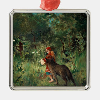 Wolf on Path with Red Christmas Ornament