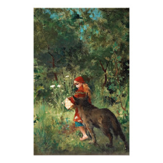 Wolf on Path with Red Custom Stationery