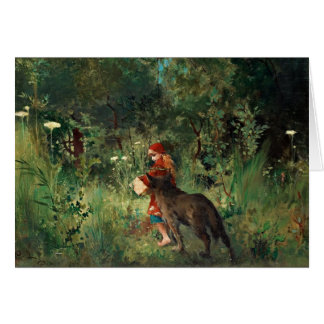 Wolf on Path with Red Greeting Card