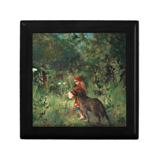 Wolf on Path with Red Keepsake Box