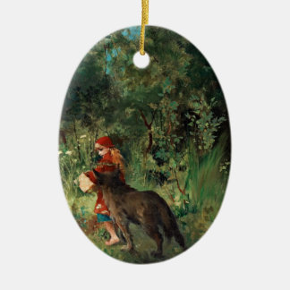 Wolf on Path with Red Ornament