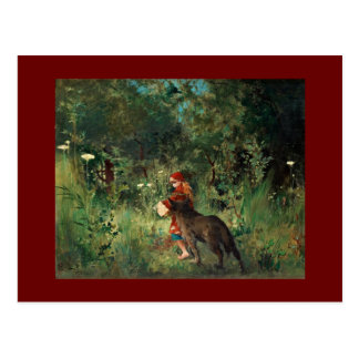 Wolf on Path with Red Postcard