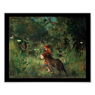 Wolf on Path with Red Posters