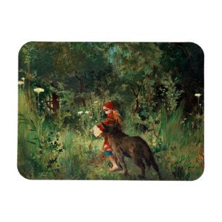 Wolf on Path with Red Rectangular Photo Magnet