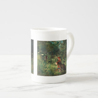 Wolf on Path with Red Porcelain Mugs