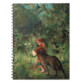 Wolf on Path with Red Spiral Note Book