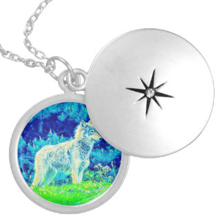Wolf On The Prowl Silver Plated Locket
