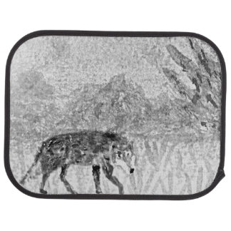 Wolf on the Prowl Sketch Car Floor Mat