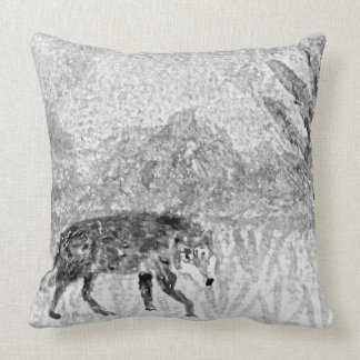 Wolf on the Prowl Sketch Throw Pillow