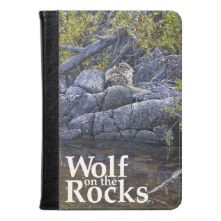 Wolf On The Rocks Painting Kindle Case at Zazzle