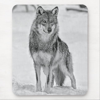 Wolf On Watch Black/White Mouse Pad