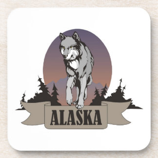 Wolf or coyote among pine trees in Alaska Coaster