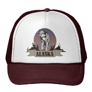 Wolf or coyote among pine trees in Alaska Trucker Hat