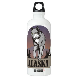 Wolf or coyote among pine trees in Alaska Water Bottle