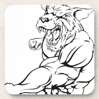 Wolf or wolfman werewolf punching coasters