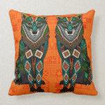 wolf orange geo throw pillow