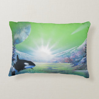 Wolf/Orca cotton accent pillow