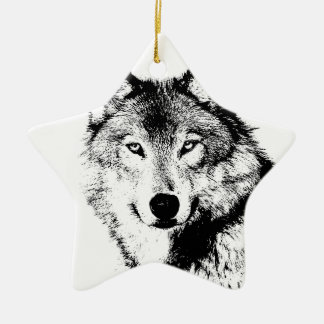 Wolf Double-Sided Star Ceramic Christmas Ornament