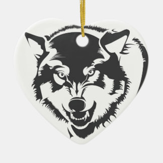 Wolf Double-Sided Heart Ceramic Christmas Ornament