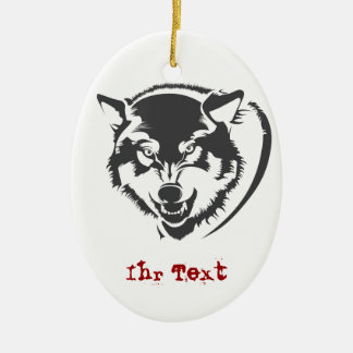 Wolf Double-Sided Oval Ceramic Christmas Ornament