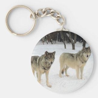 Wolf Pack Basic Round Button Keychain
