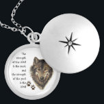 "Wolf Pack Family Strength Quote, Animal Locket Necklace<br><div class=""desc"">Wolf Pack Family Strength Quote,  Animal teaches us about faithfulness,  responsibility and the value of family relationships.</div>"