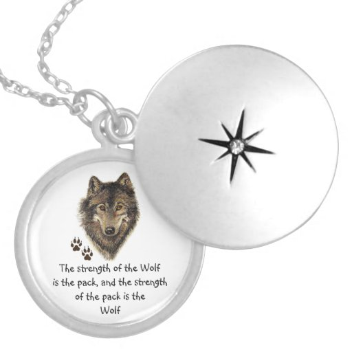 Wolf Pack Family Strength Quote, Animal Custom Necklace