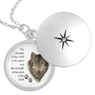 Wolf Pack Family Strength Quote, Animal Round Locket Necklace