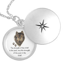 Wolf Pack Family Strength Quote, Animal Silver Plated Necklace