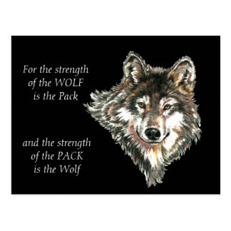 Wolf Pack Family Strength Quote watercolor Animal Postcard Wolf Quotes About Strength