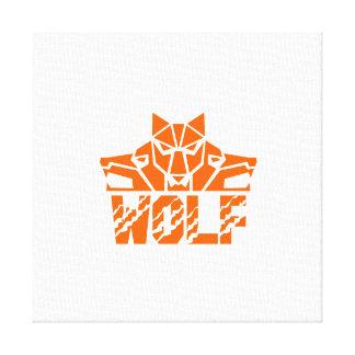 Wolf Pack Head Retro Canvas Print
