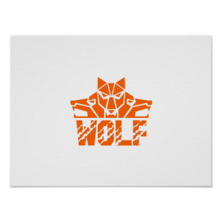 Wolf Pack Head Retro Poster