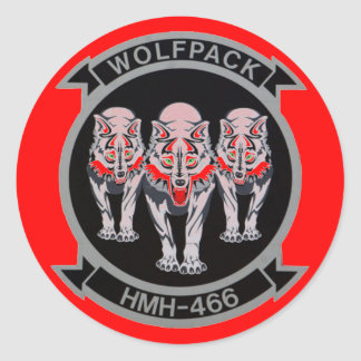 WOLF PACK  HMH-466 CLASSIC ROUND STICKER