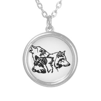 Wolf Pack Outline Round Pendant Necklace