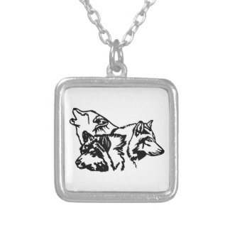 Wolf Pack Outline Square Pendant Necklace
