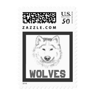Wolf Pack Wolves School Mascot postage stamp