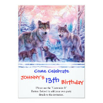 Wolf painting - arctic wolf - grey wolf invitation