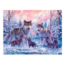 Wolf painting - arctic wolf - grey wolf postcard