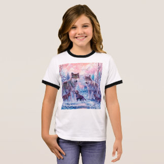 Wolf painting - arctic wolf - grey wolf ringer T-Shirt