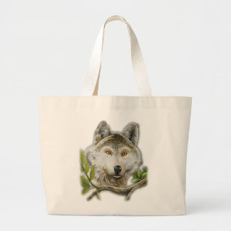 Wolf Painting with just face Large Tote Bag