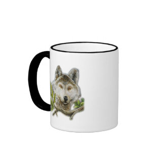 Wolf Painting with just face Ringer Mug