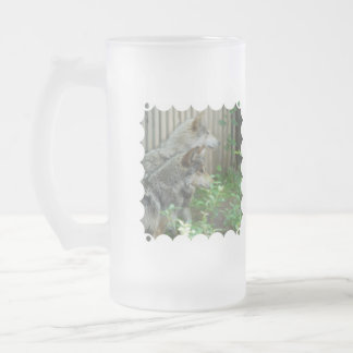 Wolf Pair Frosted Beer Mug