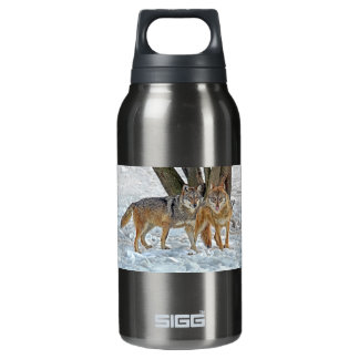 Wolf Pair in Snow Insulated Water Bottle