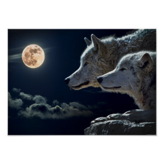 Wolf Pair Moon Night Gothic Fantasy Poster