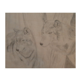 Wolf pair - on wood wood wall art