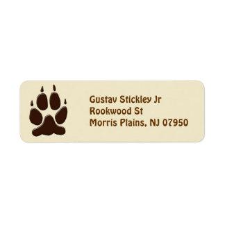 Wolf Paw Print Custom Return Address Label