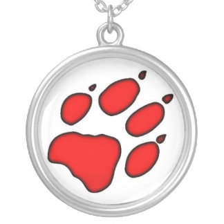 Wolf Paw Print Round Pendant Necklace
