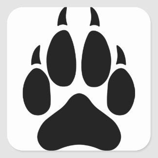 Wolf Paw Square Sticker