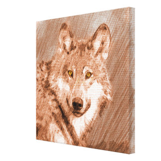 Wolf Pencil Sketch Image Art Canvas Print