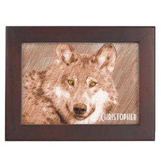 Wolf Pencil Sketch Image Personalize Keepsake Box